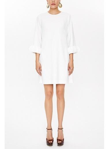 Societa Kolları aksesuar detaylı mini elbise 93051 Beyaz